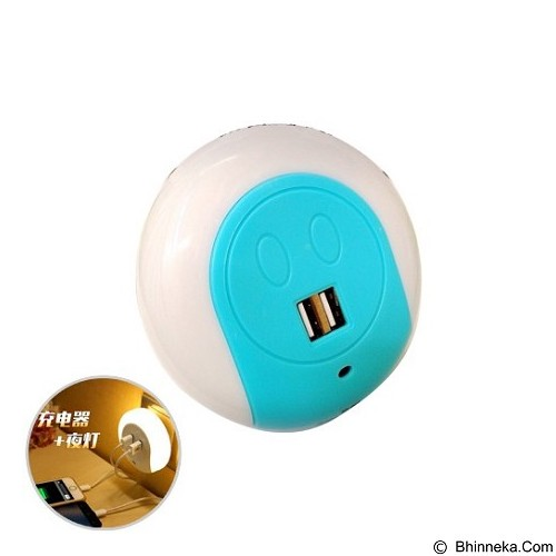 LACARLA Multifunction Smart Design LED Night Light with Dual USB Charging Port [XC-016] - Blue (Merchant) - Cable / Connector Usb