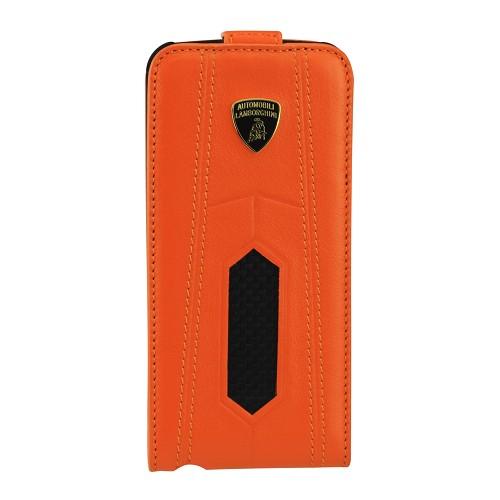 TONINO LAMBORGHINI Carbon Flip Case Apple iPhone 5 - Orange - Casing Handphone / Case