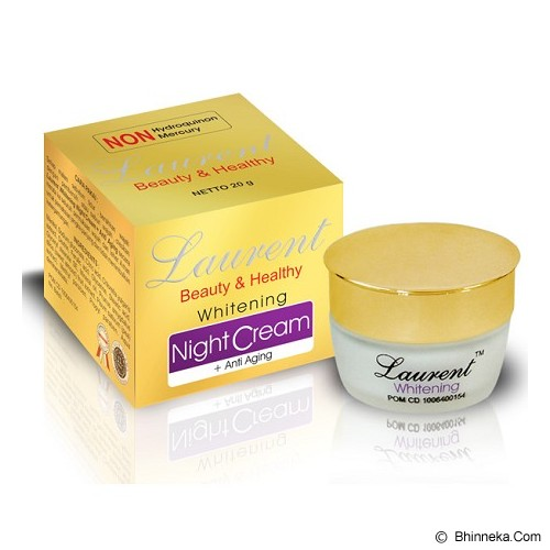 LAURENT Whitening Night Cream + Anti Aging 20gr - Perawatan Anti Penuaan Dini