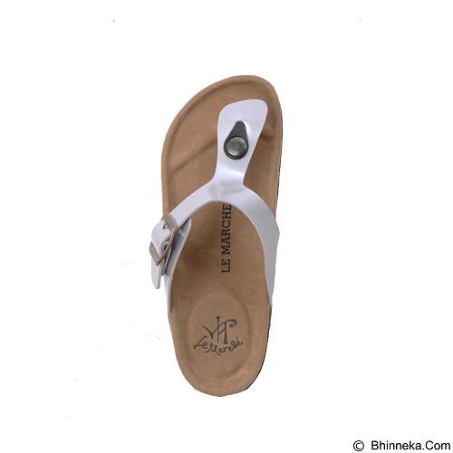 LE MARCHE Sandal Montpellier Plain Size 44 - Silver (Merchant) - Sandal Casual Pria