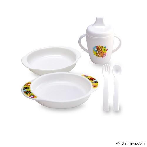 LUSTY BUNNY Feeding Set 6in1 - White - Perlengkapan Makan dan Minum Bayi
