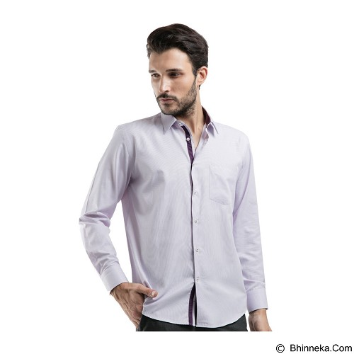 MANLY Regular Fit Striped Shirt Size 15 [Condel15] - Light Purple - Kemeja Lengan Panjang Pria