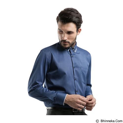 MANLY Regular Fit Striped Shirt With Combination Size 15 [Kurnell15] - Blue - Kemeja Lengan Panjang Pria