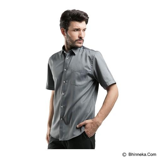 MANLY Short Sleeve Striped Shirt Size 15 - Grey - Kemeja Lengan Pendek Pria