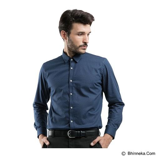 MANLY Slim Fit Pattern Shirt Size 16.5 - Navy Blue - Kemeja Lengan Panjang Pria