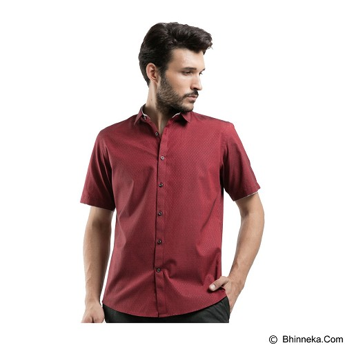 MANLY Slim Fit Pattern Shirt With Combination Size 15 [Estevez15] - Maroon - Kemeja Lengan Pendek Pria
