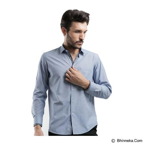 MANLY Slim Fit Plain Shirt With Combination Size 15 - Light Blue - Kemeja Lengan Panjang Pria