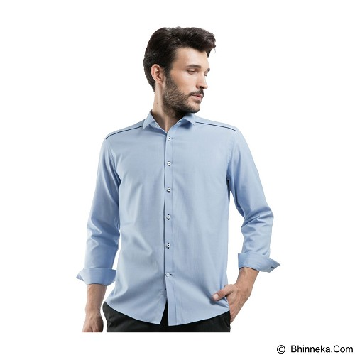 MANLY Slim Fit Plain Shirt With Combination Size 15 [Spenard15] - Light Blue - Kemeja Lengan Panjang Pria