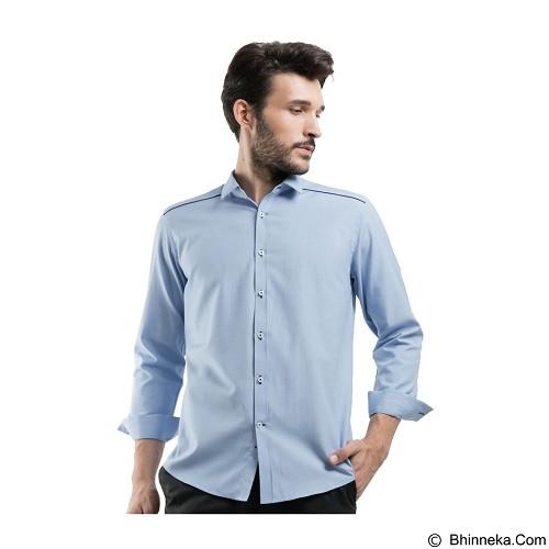 MANLY Slim Fit Plain Shirt With Combination Size 15 [Spenard15] - Light Blue - Kemeja Lengan Panjang Pria