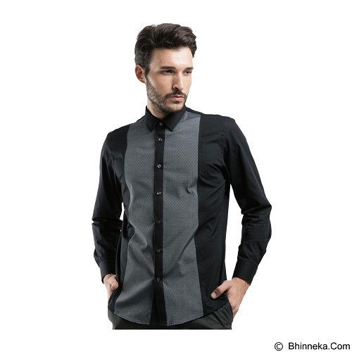MANLY Slim Fit Plain Shirt With Combination Size 16.5 [Tenison165] - Black - Kemeja Lengan Panjang Pria