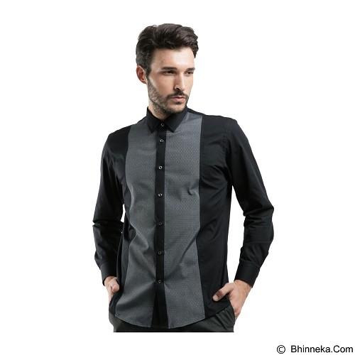 MANLY Slim Fit Plain Shirt With Combination Size 16.5 [Tenison165] - Black - Kemeja Lengan Panjang Pria