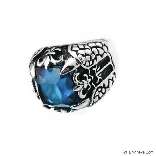 MEN'S JEWELRY Big Claw Blue Ring Titanium Steel Size 10 [TTR102004-JN15] - Silver - Cincin Pria