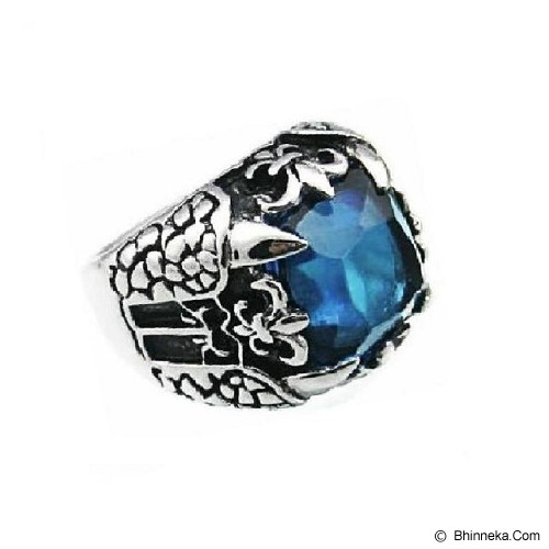 MEN'S JEWELRY Big Claw Blue Ring Titanium Steel Size 7 [TTR071704-JN15] - Silver - Cincin Pria