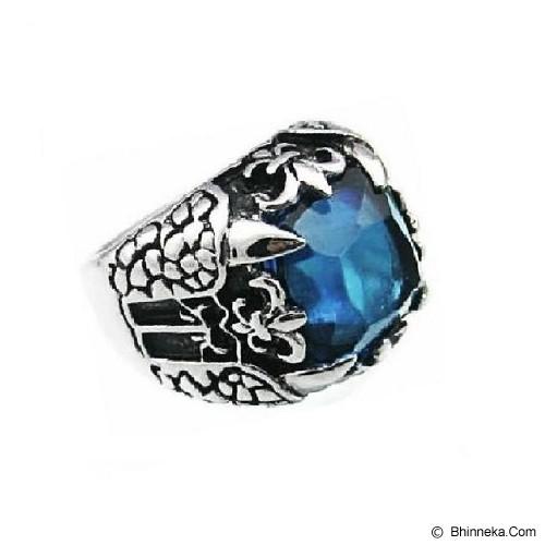 MEN'S JEWELRY Big Claw Blue Ring Titanium Steel Size 7 [TTR071704-JN15] - Silver - Cincin Pria