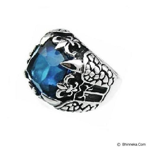 MEN'S JEWELRY Big Claw Blue Ring Titanium Steel Size 9 [TTR091904-ME15] - Silver - Cincin Pria