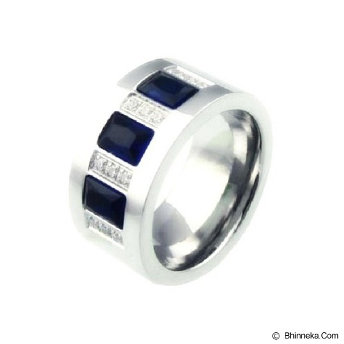 MEN'S JEWELRY Blue Crystal Ring Titanium Steel Size 9 [TBR091902-SP14] - Silver - Cincin Pria