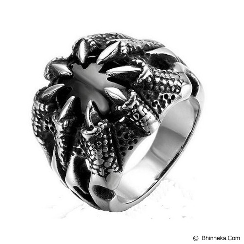 MEN'S JEWELRY Carved Dragon Claws Black Stone Ring Titanium Steel Size 7 [CDR071701-NV14] - Silver - Cincin Pria