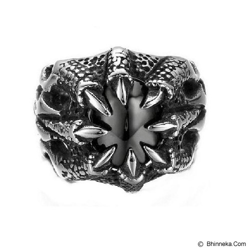 MEN'S JEWELRY Carved Dragon Claws Black Stone Ring Titanium Steel Size 9 [CDR092001-NV14] - Silver - Cincin Pria