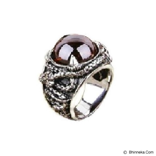 MEN'S JEWELRY Carved Drakon Red Stone Ring Titanium Steel Size 10 [DTR102005-DC14] - Silver - Cincin Pria