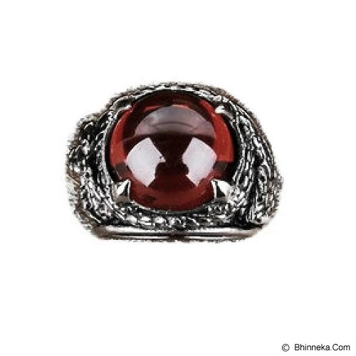 MEN'S JEWELRY Carved Drakon Red Stone Ring Titanium Steel Size 12 [DTR122205-ME15] - Silver - Cincin Pria