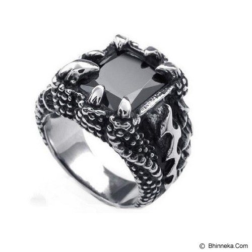 MEN'S JEWELRY Claw Dragon Black Ring Titanium Steel Size 8 [CBR081802-NV14] - Silver - Cincin Pria