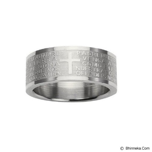 MEN'S JEWELRY Cross Padre Silver Ring Titanium Steel Size 11 [CTR112110-FB15] - Silver - Cincin Pria