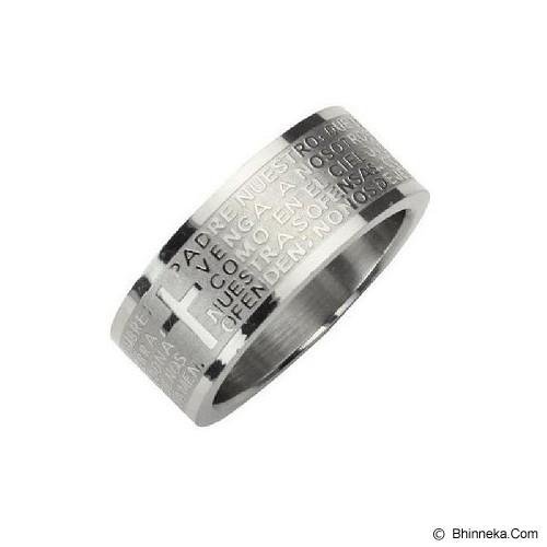 MEN'S JEWELRY Cross Padre Silver Ring Titanium Steel Size 8 [CTR081810-FB15] - Silver - Cincin Pria