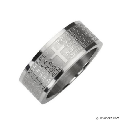 MEN'S JEWELRY Cross Padre Silver Ring Titanium Steel Size 9 [CTR091910-FB15] - Silver - Cincin Pria