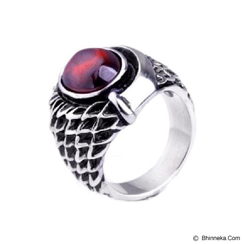 MEN'S JEWELRY Dragon Eye Red Ring Titanium Steel Size 8 [DER181801-NV14] - Silver - Cincin Pria