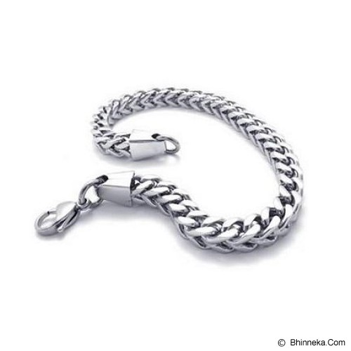 MEN'S JEWELRY Exclusive Curb Chain Bracelet Titanium Steel [CTB211010-MR15] - Silver - Gelang Pria