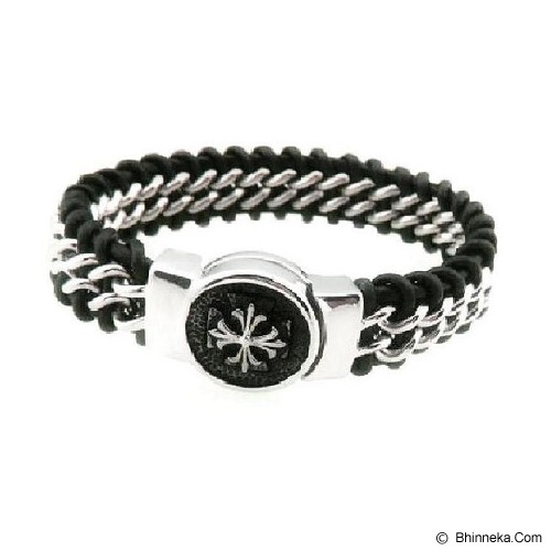 MEN'S JEWELRY Exclusive Genuine Leather Bracelet Titanium Steel Size M [LTB201905-ME15] - Black - Gelang Pria