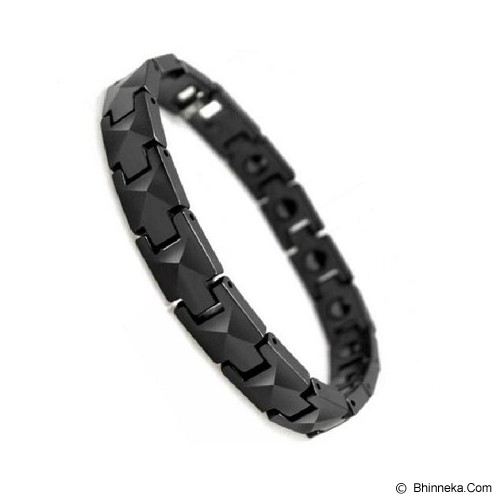 MEN'S JEWELRY Faceted Black Ceramic Magnetic Bracelet Size 19 [CMB190903-NV14] - Black - Alat Terapi Sendi