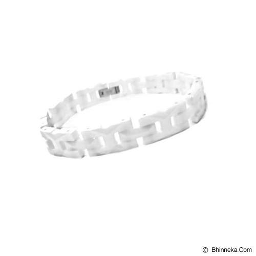 MEN'S JEWELRY Faceted White Ceramic Link Bracelet [CWB201102-DC14] - White - Alat Terapi Sendi