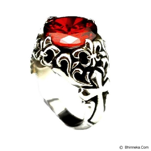 MEN'S JEWELRY Fleur De Lys Red Stone Ring Titanium Steel Size 11 [FMR112114-OC14] - Silver - Cincin Pria