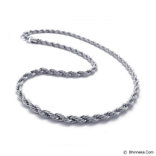 MEN'S JEWELRY French Chain 6mm Necklace Titanium Steel [TRN550606-DC14] - Silver - Kalung Pria