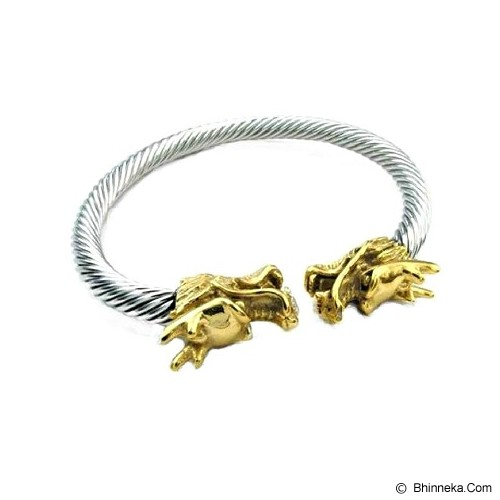 MEN'S JEWELRY Gold Dragon Bangle Titanium Steel [DTB190606-OC14] - Silver - Gelang Pria