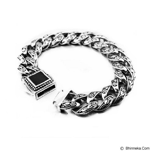 MEN'S JEWELRY Gravure Men Bracelet Titanium Steel Size L [TMB221504-MR15] - Silver - Gelang Pria