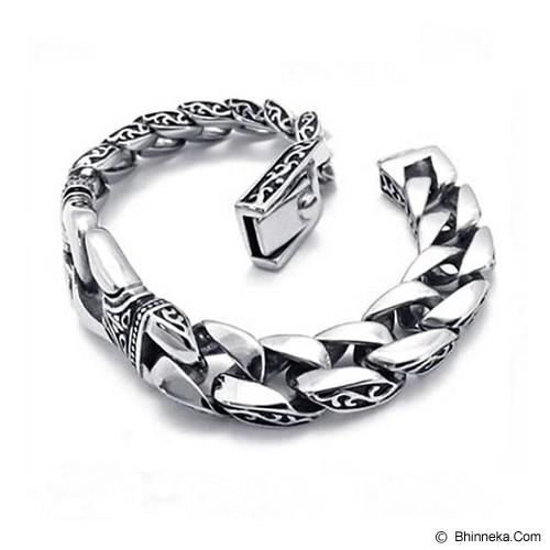 MEN'S JEWELRY Kerf Dragon Titanium Steel [KDB211204-NV14] - Silver - Gelang Pria