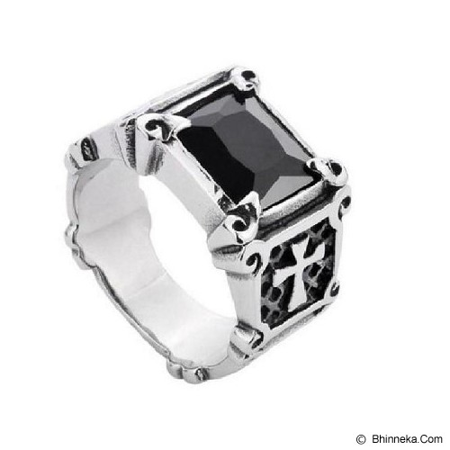 MEN'S JEWELRY La Croix Black Ring Titanium Steel Size 8 [LCR081808-FB15] - Silver - Cincin Pria