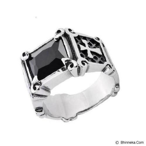 MEN'S JEWELRY La Croix Black Ring Titanium Steel Size 9 [LCR091908-FB15] - Silver - Cincin Pria