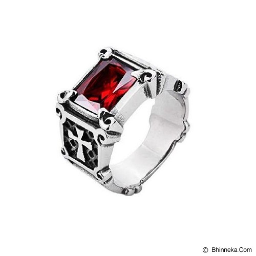 MEN'S JEWELRY La Croix Red Ring Titanium Steel Size 10 [LCR102001-FB15] - Silver - Cincin Pria