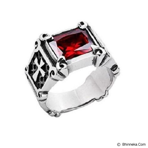 MEN'S JEWELRY La Croix Red Ring Titanium Steel Size 9 [LCR091901-FB15] - Silver - Cincin Pria