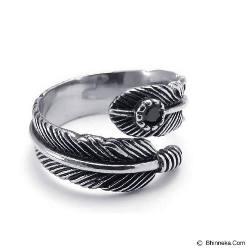 MEN'S JEWELRY Leaf Carved Ring Titanium Steel Size 7 [LCR071704-FB15] - Silver - Cincin Pria