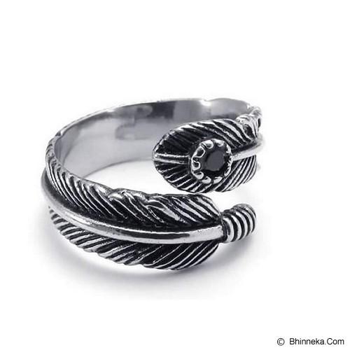 MEN'S JEWELRY Leaf Carved Ring Titanium Steel Size 8 [LCR081804-FB15] - Silver - Cincin Pria