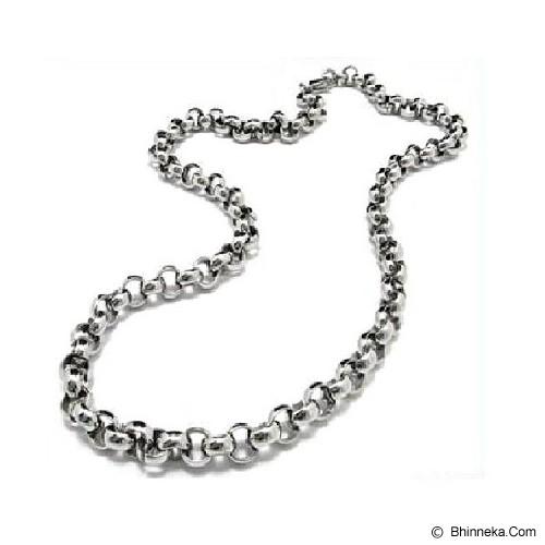 MEN'S JEWELRY Rolo Chain 6mm Necklace Titanium Steel [TRN600606-OC14] - Silver - Kalung Pria