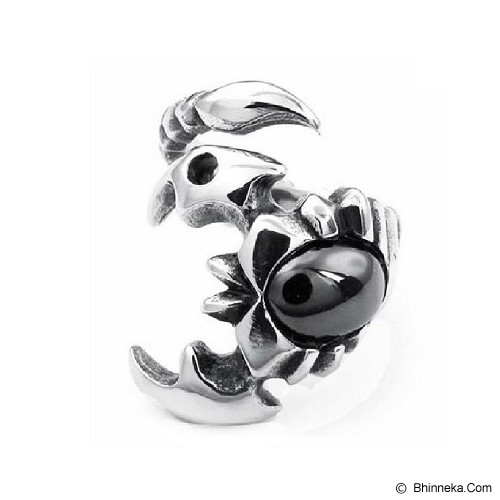 MEN'S JEWELRY Scorpion Black Ring Titanium Steel Size 11 [TMR112106-JN15] - Silver - Cincin Pria