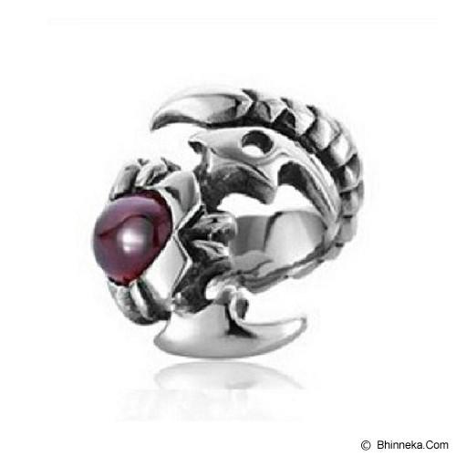 MEN'S JEWELRY Scorpion Red Ring Titanium Steel Size 9 [TMR092001OC14] - Silver - Cincin Pria