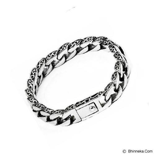MEN'S JEWELRY Totem Men Bracelet Titanium Steel Size 21 [TMB211208-AG15] - Silver - Gelang Pria