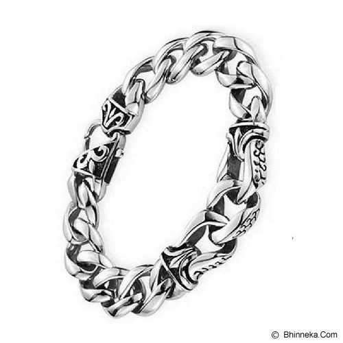 MEN'S JEWELRY Tribal Bracelet Titanium Steel Size 19 [TMB191401-AG14] - Silver - Gelang Pria