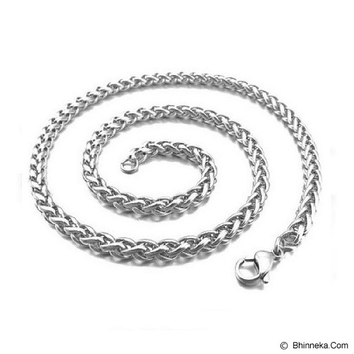 MEN'S JEWELRY Twist Chain 6mm Necklace Titanium Steel [TMN550605-NV14] - Silver - Kalung Pria
